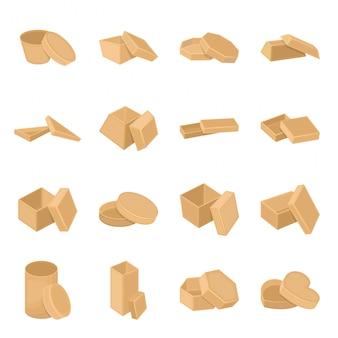 Коробка мультфильм установить значок. картонный подарок. изолированная коробка значка шаржа установленная.