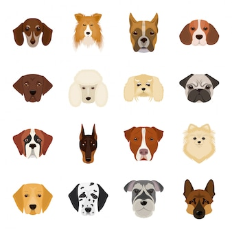 Мультфильм собака установить значок. изолированный мультфильм набор значок животных. собака .