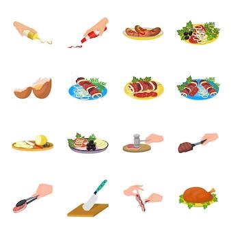 Пикник еда мультфильм установить значок. изолированный шарж установленный значок барбекю. еда для пикника.
