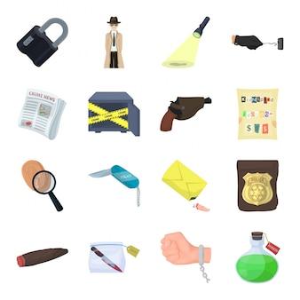 Детектив мультфильм набор иконок. преступление изолированные мультфильм набор иконок детектив.