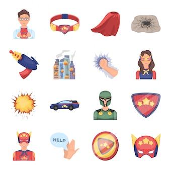 Супергерой мультфильм установить значок. комический изолированный мультфильм набор значок супергероя.