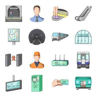 Подземный поезд мультфильм установить значок. метро . изолированные мультфильм набор значок подземного поезда.