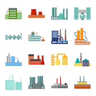 工場漫画のベクトルのアイコンを設定します。工場の建物のベクトルイラスト。