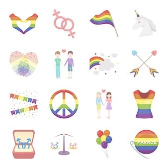ゲイ漫画のベクトルのアイコンを設定します。ゲイのベクトルイラスト。