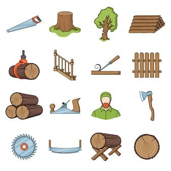 木材漫画セットアイコンの木材