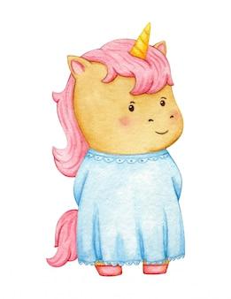 水色のドレスでロマンチックなユニコーンのキャラクター。分離されたピンクの髪のフェアリーテールポニー少女。水彩キャライラスト