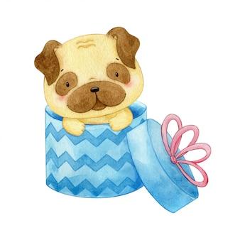 Очаровательный щенок мопса сидит в подарочной коробке с бантом