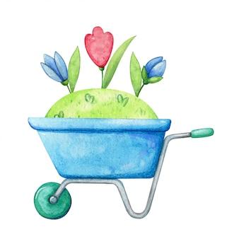 芝生、新芽、小さな野生の花が付いている青いトロリー。自然の成長と家の庭のイラスト。