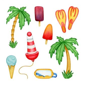 Пляж иллюстрации с мороженым, пальмы, буй, трубка маска, ласты. изолированные элементы рисованной в акварели