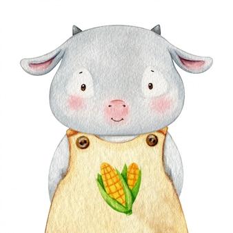 農家の布に身を包んだヤギの子。水彩キャライラスト