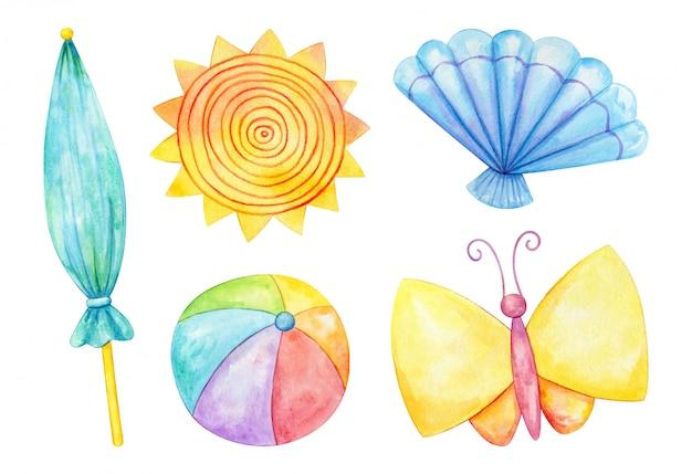 夏をテーマにした水彩画のクリップアートセット