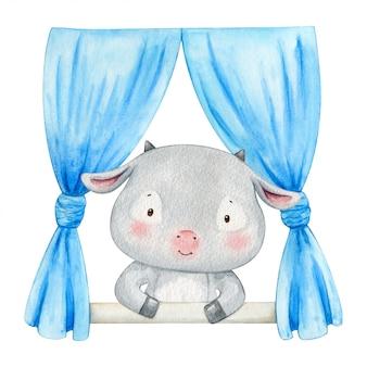 窓の外を見ている小さなヤギ。手描きの水彩画のイラスト