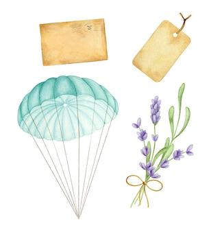 手描きのビンテージパラシュート、ラベンダーブーケ、封筒の水彩イラスト
