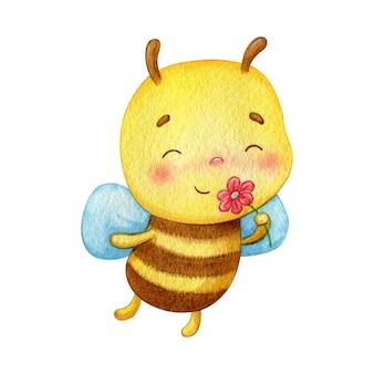 小さな蜂のキャラクターは赤い花の匂いがします。幸せなかわいい昆虫水彩イラスト。