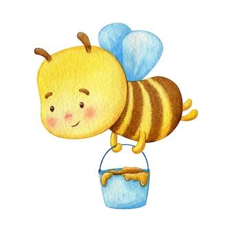 ミツバチの労働者は、バケツ一杯の蜂蜜で飛ぶ。かわいい若い昆虫の水彩イラスト。