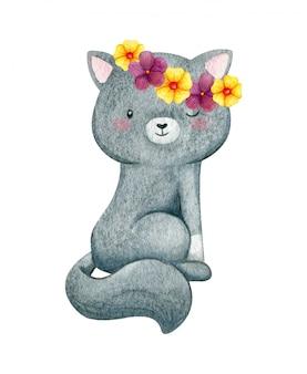 彼女の頭に花の花輪を持つ甘い小さな猫。ふわふわの尻尾の灰色のキティ。