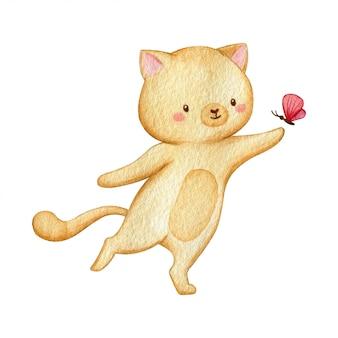 陽気な猫は小さな蝶で支払います。手は、白い背景で隔離の伝統的な水彩イラストを描いた。