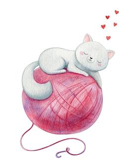 巨大なピンクの糸で白い子猫が眠る。甘い猫は毛糸玉が大好きです。伝統的な水彩イラスト。
