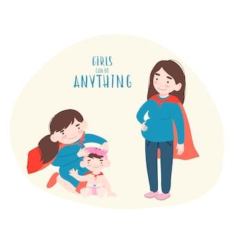 Беременная женщина с двумя дочерьми в костюмах супергероев