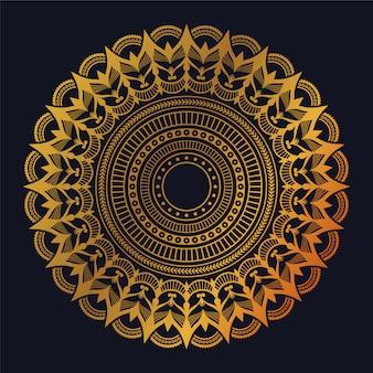 黄金のアラベスクパターンアラビアイスラム東スタイルの豪華なマンダラ
