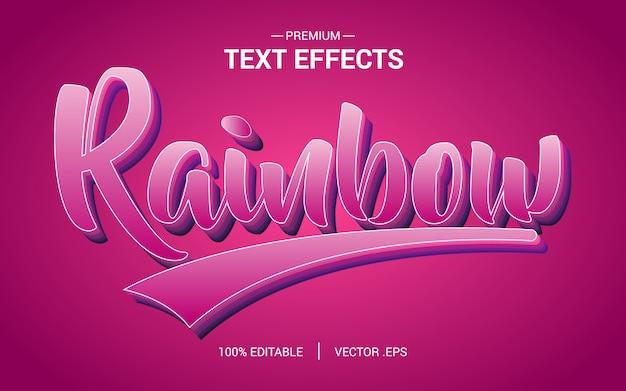 レインボーテキスト効果ベクトル、セットエレガントなピンクパープル抽象的なレインボーテキスト効果