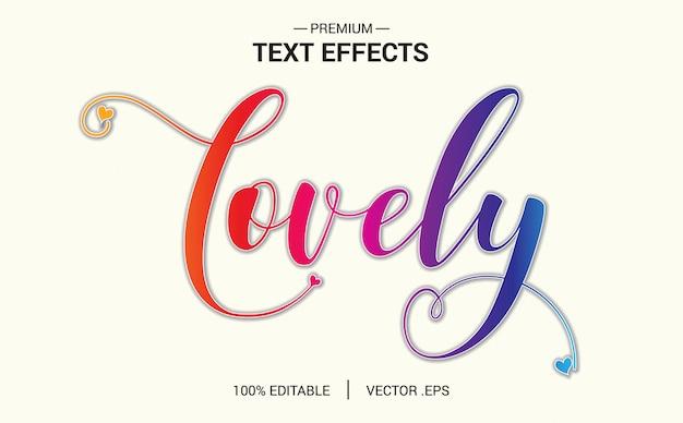 素敵なテキスト効果ベクトル、エレガントなピンク紫抽象的なバレンタインテキスト効果を設定