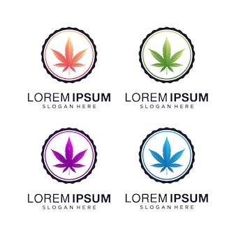 カラフルな大麻葉のロゴ