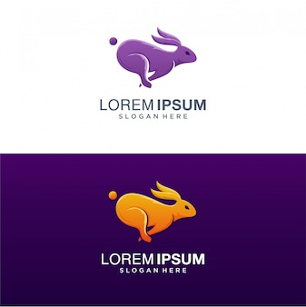 Кролик логотип, красочный логотип кролика