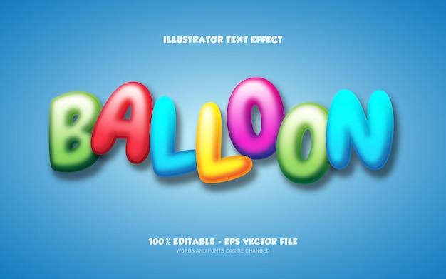 Редактируемый текстовый эффект, иллюстрации в стиле воздушного шара