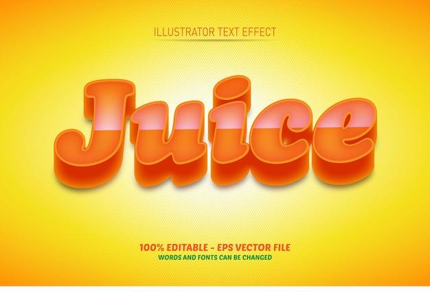 Редактируемый текстовый эффект, иллюстрации стиля сока