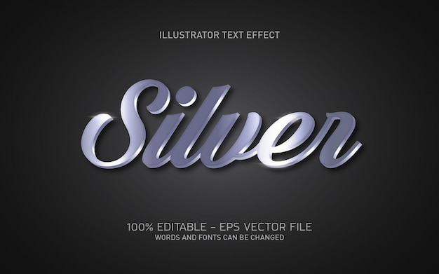 Редактируемый текстовый эффект, иллюстрации в серебряном стиле