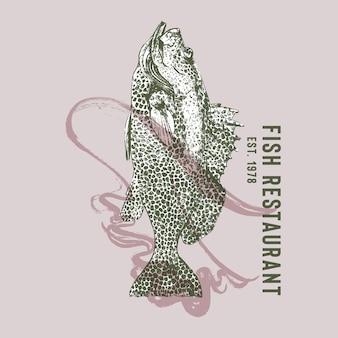 Логотип ресторана морепродуктов с окунем рыбы-танца фламенко
