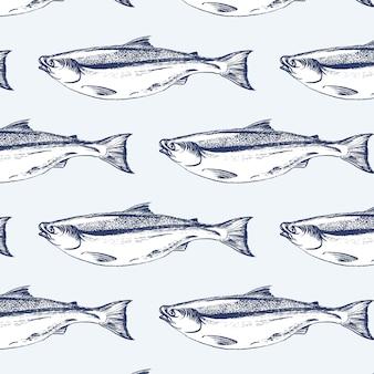 サーモンピンクの魚のシームレスパターン