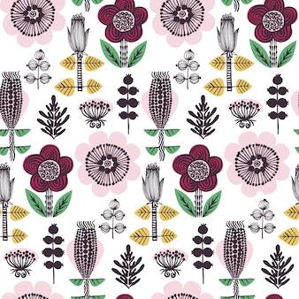 スカンジナビアスタイルの花のパターン。黄色、ピンク、赤、緑の手描きの要素