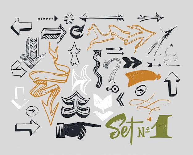 さまざまな活版印刷の矢印のセット