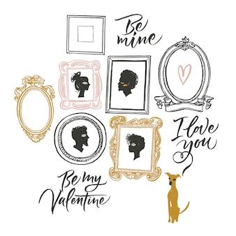 Иллюстрация на день святого валентина. портреты двух влюбленных и ожидания собаки. поздравительная открытка будь моей, я люблю тебя.