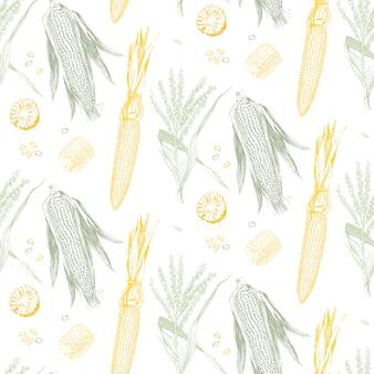 Кукуруза в початках старинный дизайн бесшовные модели.
