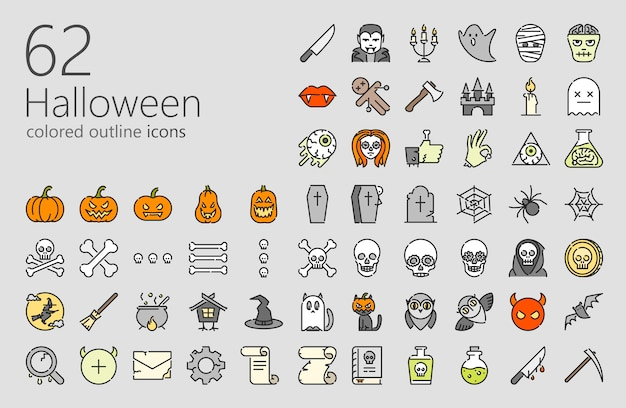 Хэллоуин цветной значок набор
