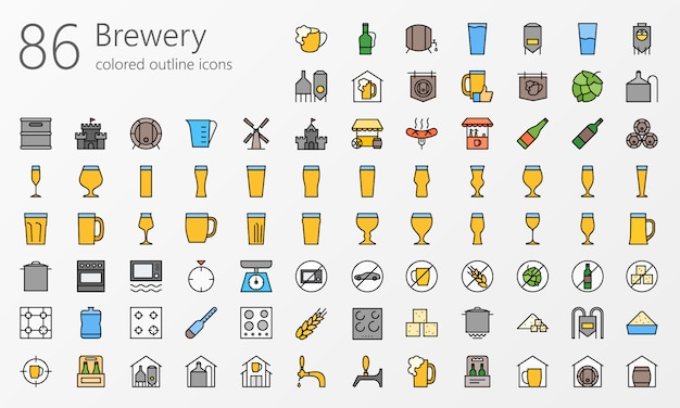 ビール醸造所概要色アイコンセット