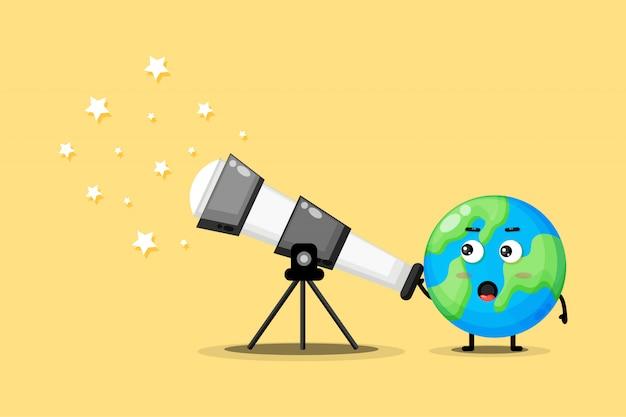 かわいい地球のキャラクターが星を見ている