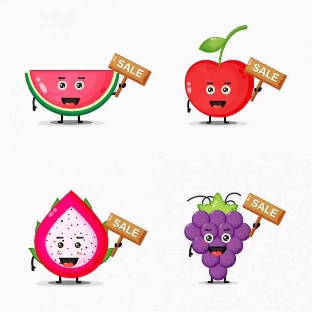 Симпатичные фрукты довольны знаком продаж