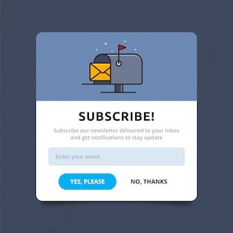 Всплывающее окно отображения подписки. почтовый ящик с письмом дизайн шаблона. презентация знак продвижения бизнес-панели. модальный дизайн пользовательского интерфейса
