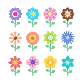 カラフルな花のアイコンのセットです。花のカラフルな抽象的な要素。プレミアムデザイン