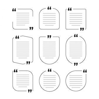 引用ボックスフレーム、大きなセット。テキストメッセージの引用ボックス。色付きの空白テンプレート引用テキスト情報デザインボックス引用バブルブログ引用記号