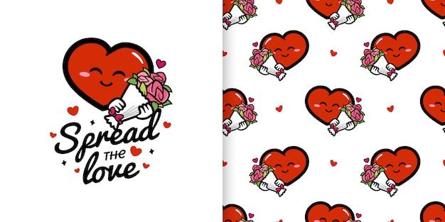 花束のイラストとシームレスなパターンを保持しているかわいいハートの漫画のキャラクター