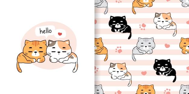 かわいい猫漫画落書きシームレスパターンとグリーティングカード