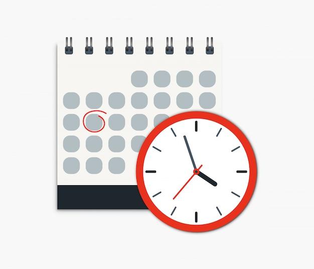 カレンダーと時計のアイコン。