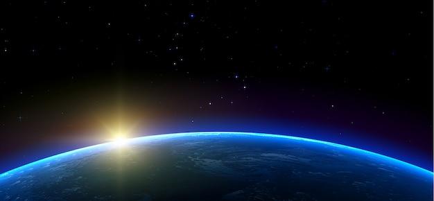 銀河。地球、太陽、宇宙空間の星。現実的な水平イラスト。
