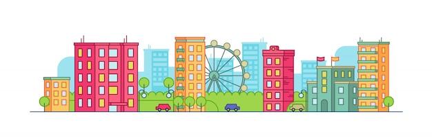 夏の背景に観覧車と色の街の風景