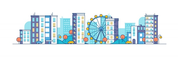 Цветной городской пейзаж с колесом обозрения на зимнем фоне